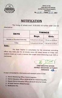 SCHOOLS TIMINGS
