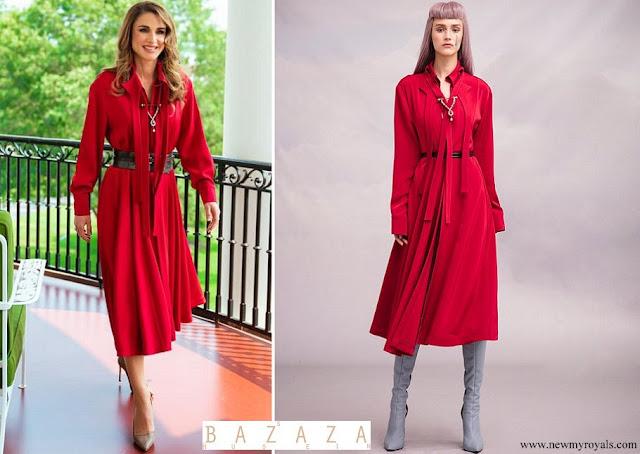 Queen Rania wore Hussein Bazaza Red Dress