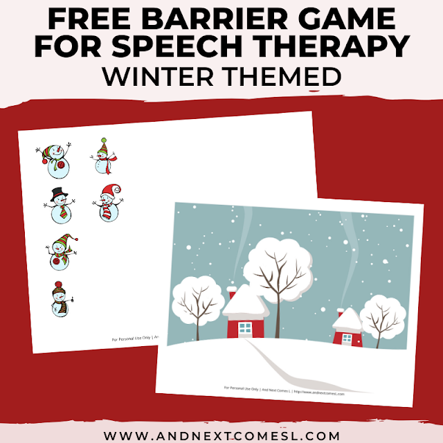 Free speech therapy barrier game: winter themed