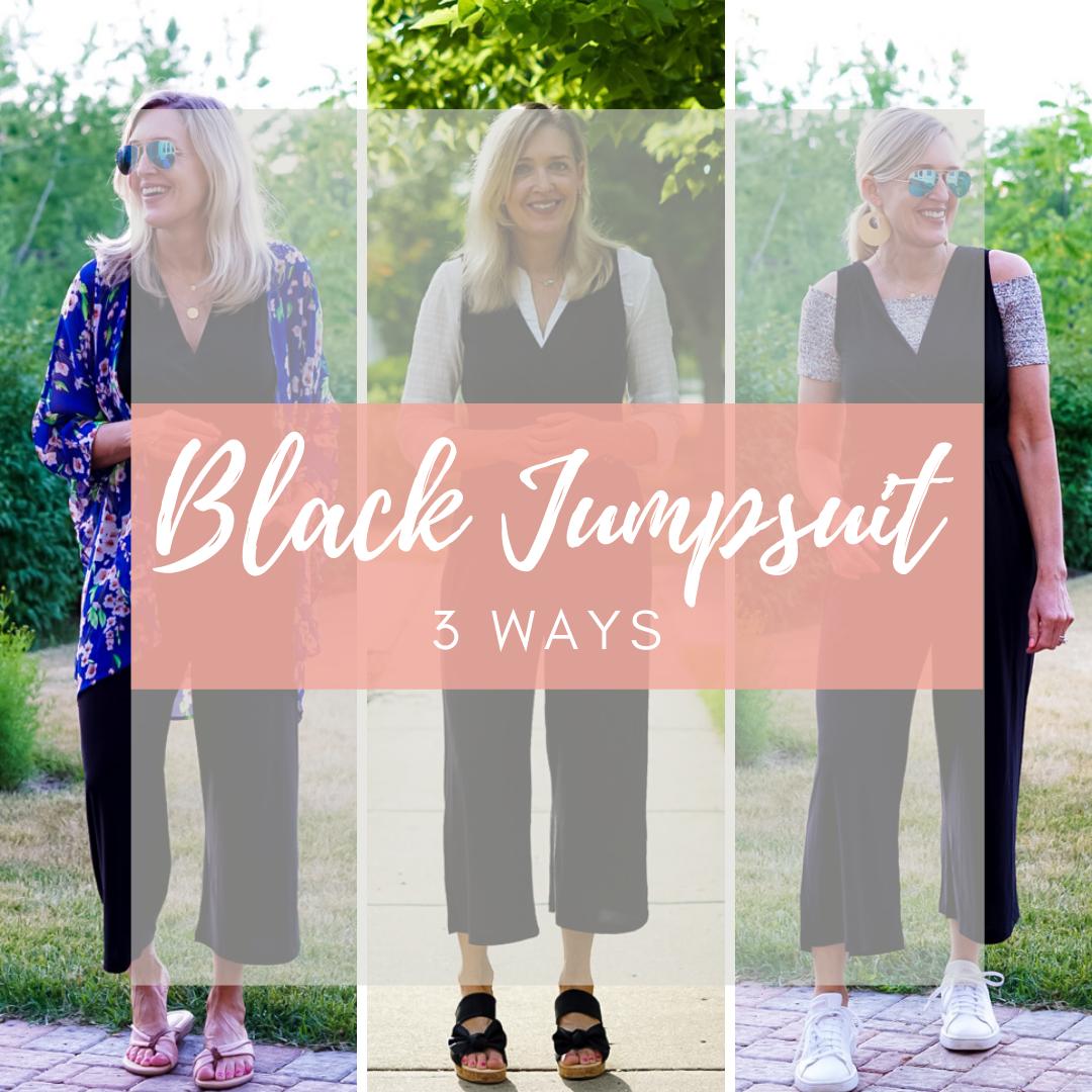black jumpsuit 3 ways
