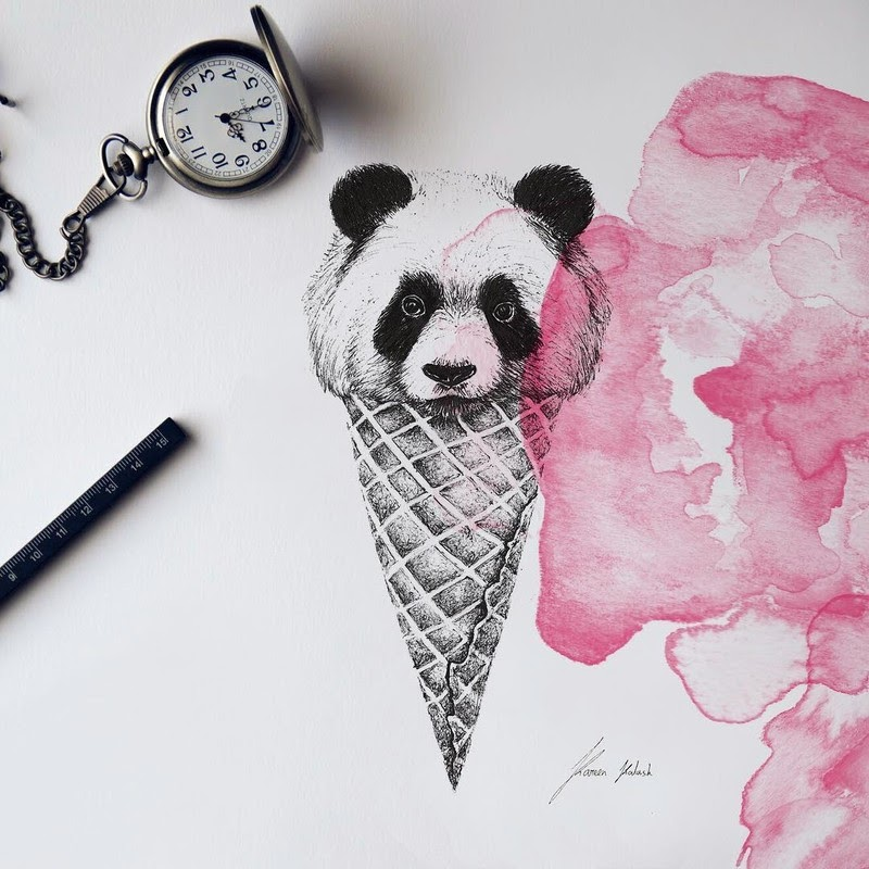 11-Panda-Ice-Cream-Cone-Surreal-Animals-Mostly-Ink-Drawings-www-designstack-co