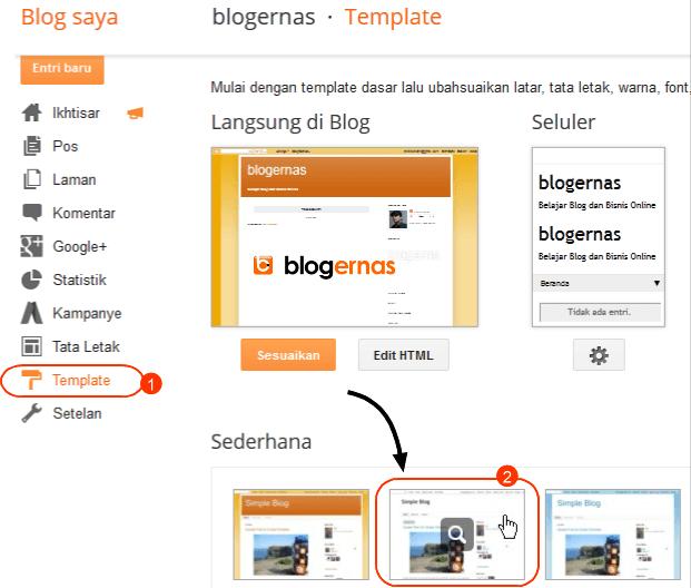 Cara Mengganti Template Blog Bawaan Blogger