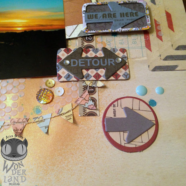 scrapbook, travel, sunset, vintage, California, handmade, adventure, beach, coastline, brads, banner, pennant, flowers, chipboard, stickers, sequins