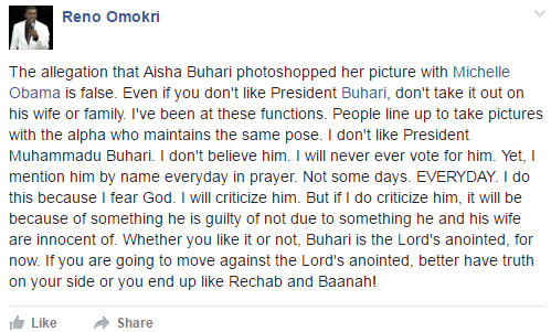 Reno Omokri: Buhari is the anointed one for Nigeria