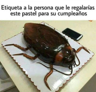Etiqueta a la persona a la que le regalarías este pastel para su cumpleaños, cucaracha