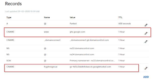 setup custom domain on blogspot.
