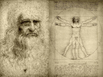 Leonardo da Vinci sketches of human anatomy