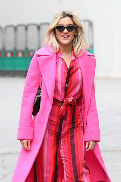 Ashley Roberts – Leaving Global Studios in all pink in London