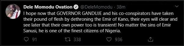 Emir Sanusi's dethronement: Dele Momodu blasts Gov. Ganduje, says 'power is transient'