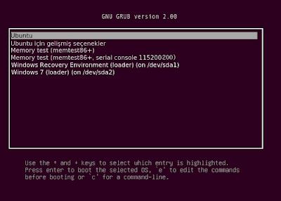 Ubuntu ve Windows yüklü bir bilgisayarda açılışta işletim sistemi seçme ekranı.