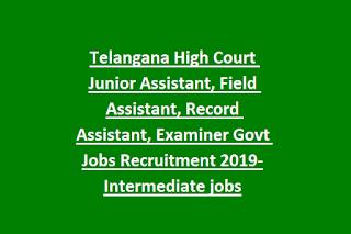 Telangana High Court Junior Assistant, Field Assistant, Record Assistant, Examiner Govt Jobs Recruitment 2019-Intermediate jobs
