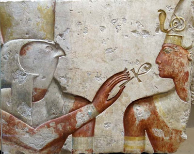 Horus holding the ankh at the nose of the pharaoh Ramses. c. 1275 BCE, Abydos, Egypt.