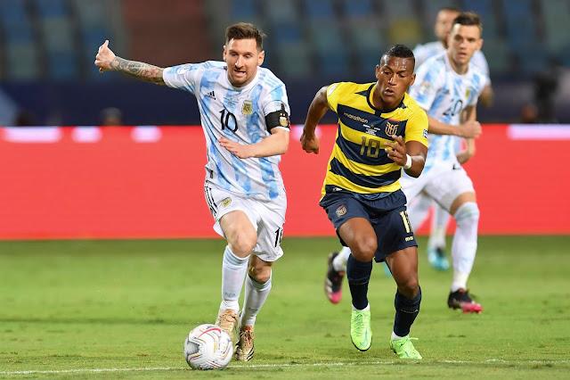 Lionel Messi in action for Argentina against Ecuador - Copa America