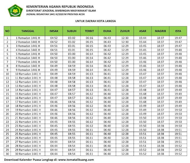 jadwal imsakiyah ramadhan buka puasa Kota Langsa 2020 m 1441 h tomatalikuang.com