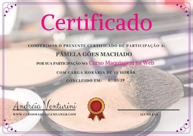 Certificado do curso de maquiagem na web por Andreia Venturini