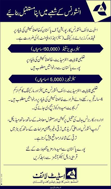 State Life Insurance Corporation of Pakistan jobs 2019 | 55,000 Vacancies |