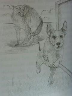 Bleistiftzeichnung des Katers Canelo und des Hundewelpen Gucci