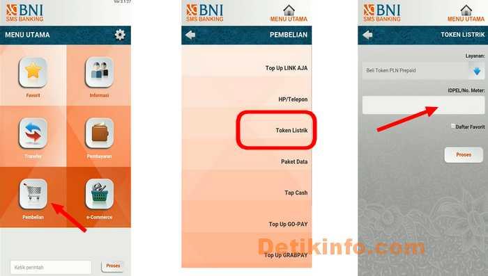menu pembelian token listrik SMS banking BNI