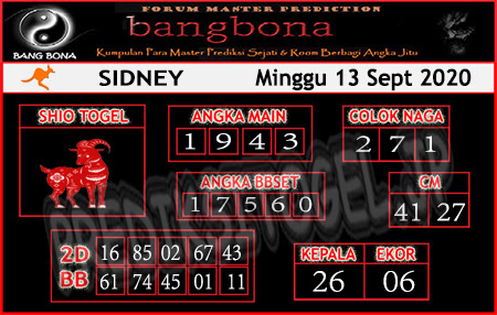Prediksi Bangbona Sydney Minggu 13 September 2020</strong