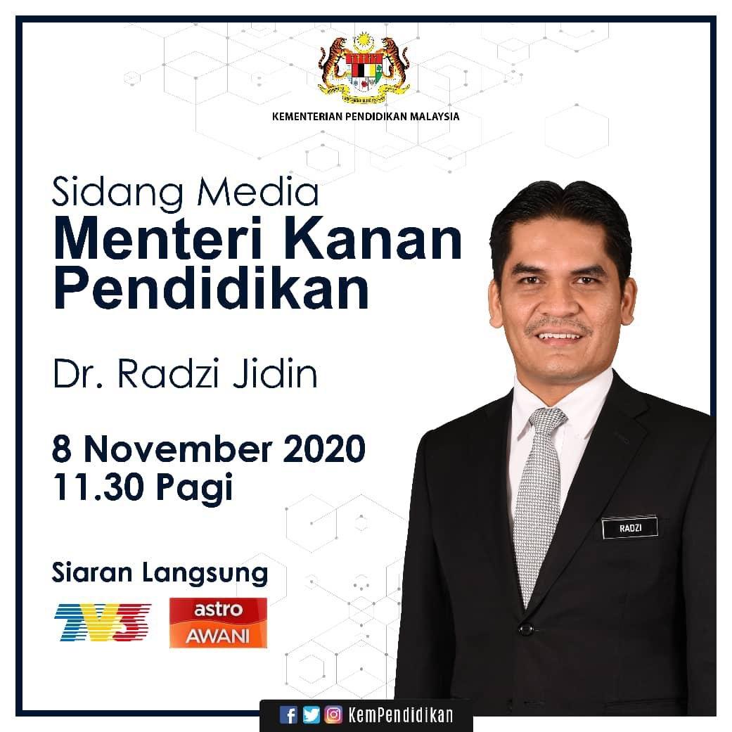 Sidang Media Menteri Kanan Pendidikan Dr Radzi Jidin 8 November 11 30 Pagi Malay Berujar