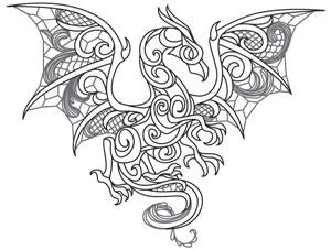 Coloring Page World: Dragon Smoke