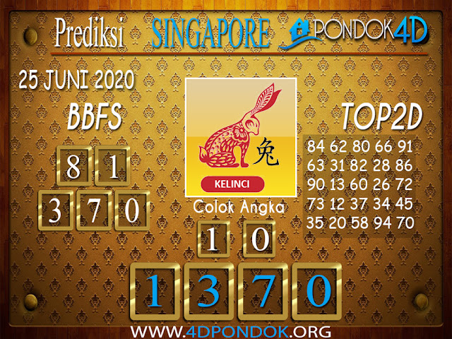Prediksi Togel SINGAPORE PONDOK4D 25 JUNI 2020