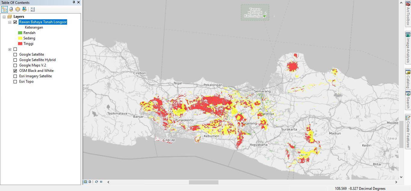 Shapefile Peta Bahaya Tanah Longsor