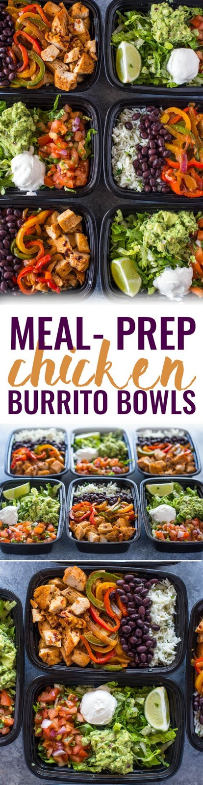 A week's worth of lunch made in just 1 hour. This time-saving meal-prep chicken burrito bowls recipe will help you get healthy lunch on the table at work, school or home quickly without sacrificing