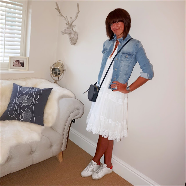 my midlife fashion, ralph lauren white lace boho dress, golden goose superstar low top leather trainers, iris and ink leather shoulder bag, zara cropped denim jacket