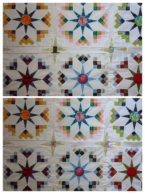 Brown, pale blue, and lavender posts tested for the Shadow Star quilt
