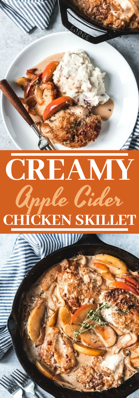 Creamy Apple Cider Chicken Skillet #dinner #chicken #fall #recipes #easy