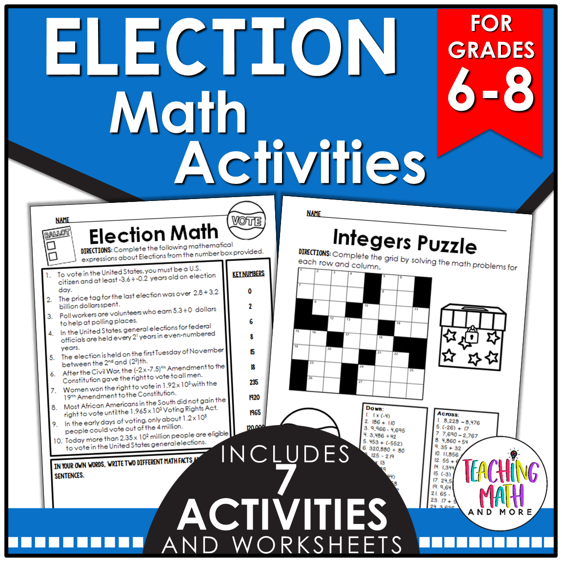 Kelly McCown: Election Day Math Worksheets for Middle School [ 1152 x 1152 Pixel ]
