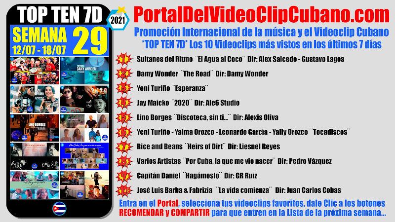 Artistas ganadores del * TOP TEN 7D * con los 10 Videoclips más vistos en la semana 29 (12/07 a 18/07 de 2021) en el Portal Del Vídeo Clip Cubano