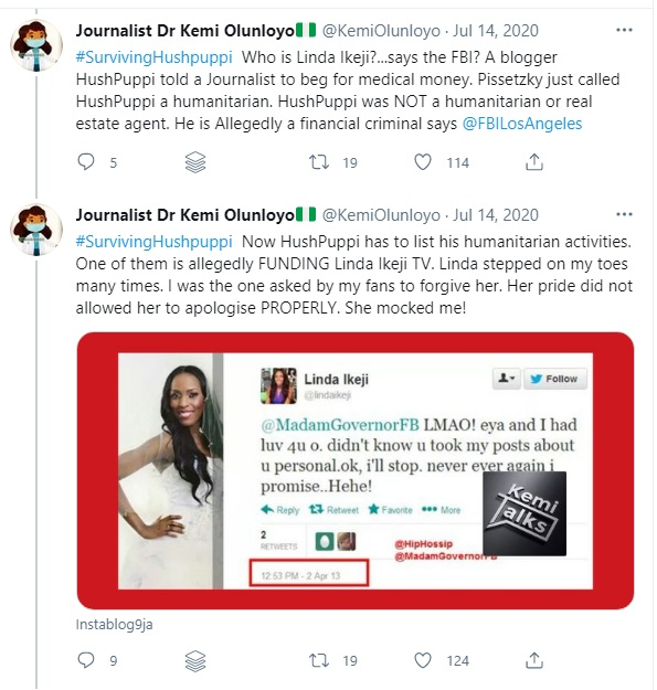 Kemi Olunloyo Attacks Linda Ikeji On Twitter, Claims She Was Arrested For Defaulting On A Loan