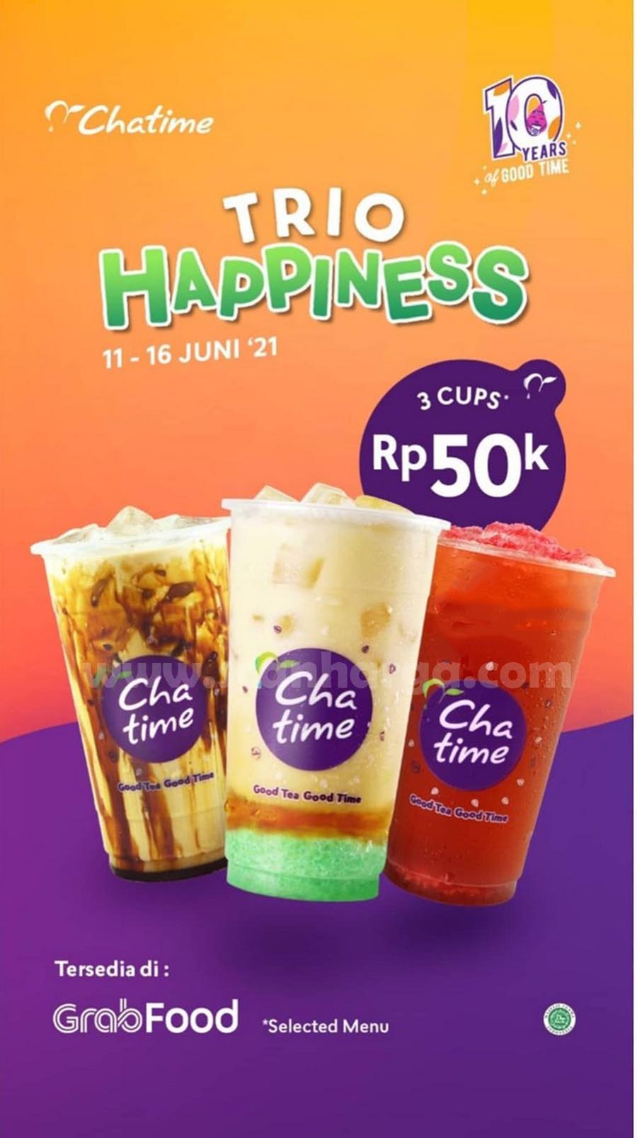 Promo CHATIME Trio Happiness 3 Cup Hanya Rp. 50.000