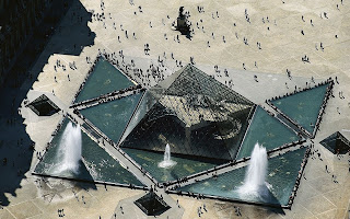 France Paris Louvre Pyramid Top View HD Wallpaper