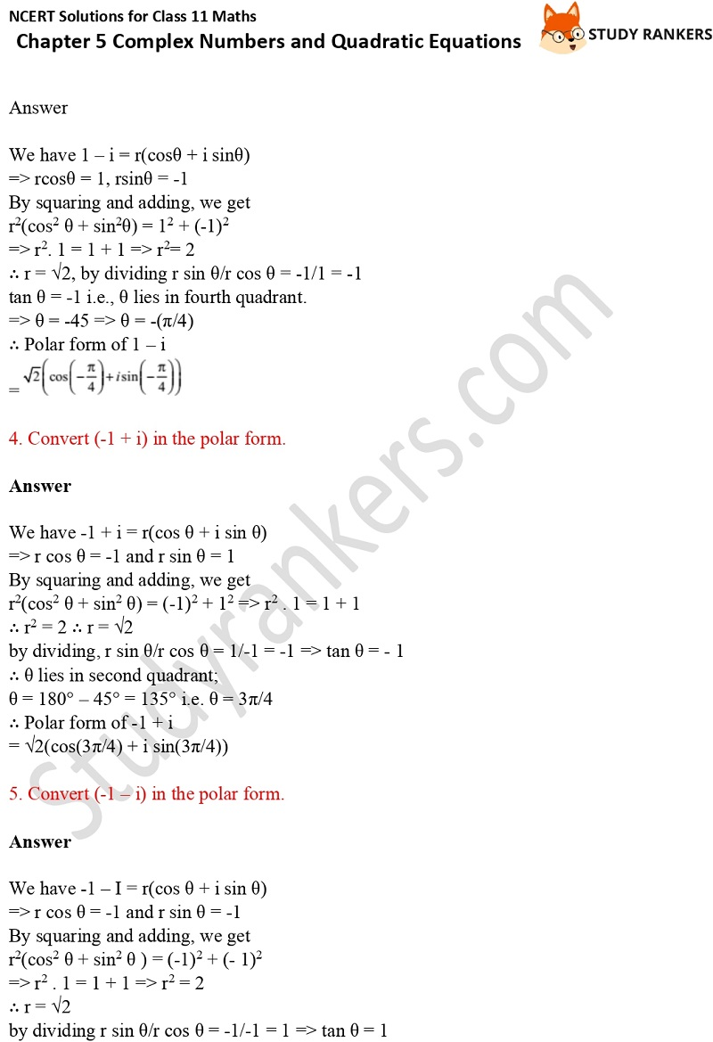 NCERT Solutions for Class 11 Maths Chapter 5 Complex Numbers and Quadratic Equations 5