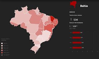 Número de crimes violentos na Bahia