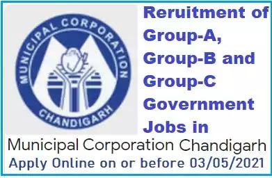 Chandigarh Municipal Corporation Group-A B C Vacancy Recruitment 2021