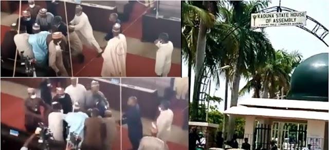 Drama As Kaduna Lawmaker Snatches Mace, Beaten During Deputy Speaker's Impeachment (Video)