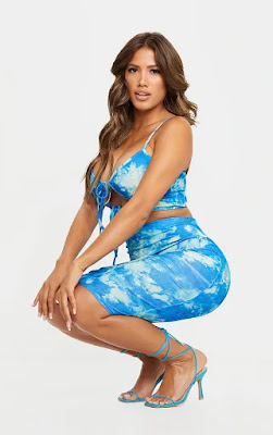 Shape blue Tie Dye Rib high waist mid skirt