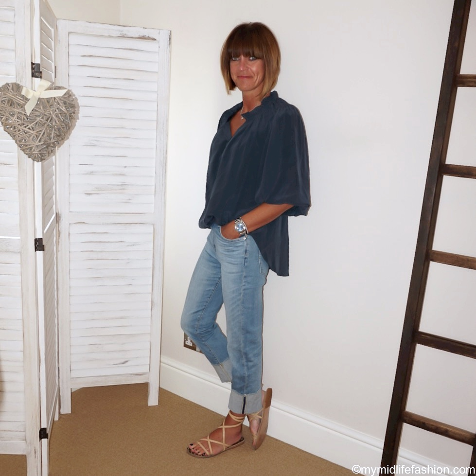 my midlife fashion, Isabel Marant silk ruffle shirt, j crew deep turn up boyfriend jeans, Ancient Greek leather sandals
