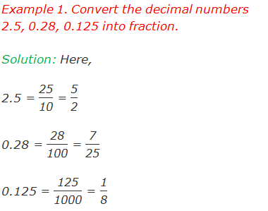 "Example 1. Convert the decimal numbers 2.5, 0.28, 0.125 into fraction.  Solution: Here, 2.5 = ""25"" /""10""  = ""5"" /""2""  0.28 = ""28"" /""100""  = ""7"" /""25""  0.125 = ""125"" /""1000""  = ""1"" /""8"""