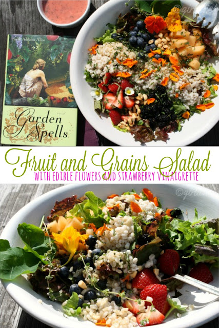 Fruit and Grains Salad with Edible Flowers and Strawberry Vinaigrette