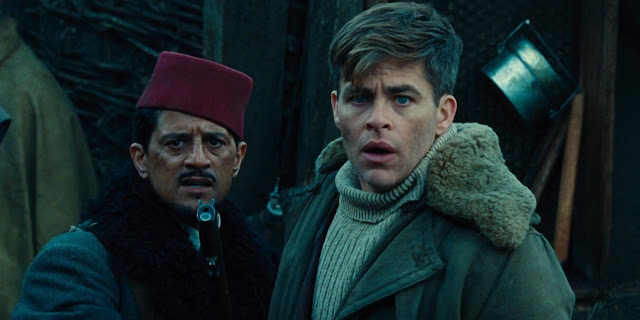Saïd Taghmaoui and Chris Pine, presumably staring at Gal Gadot doing something awesome