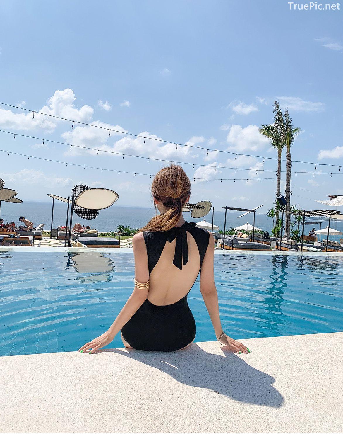Korean fashion model - Cha Yoo Jin - Half Neck Black Monokini - TruePic.net - Picture 10