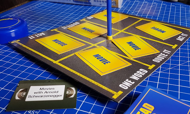 Blockbuster Big Potato game board with movie cards in place