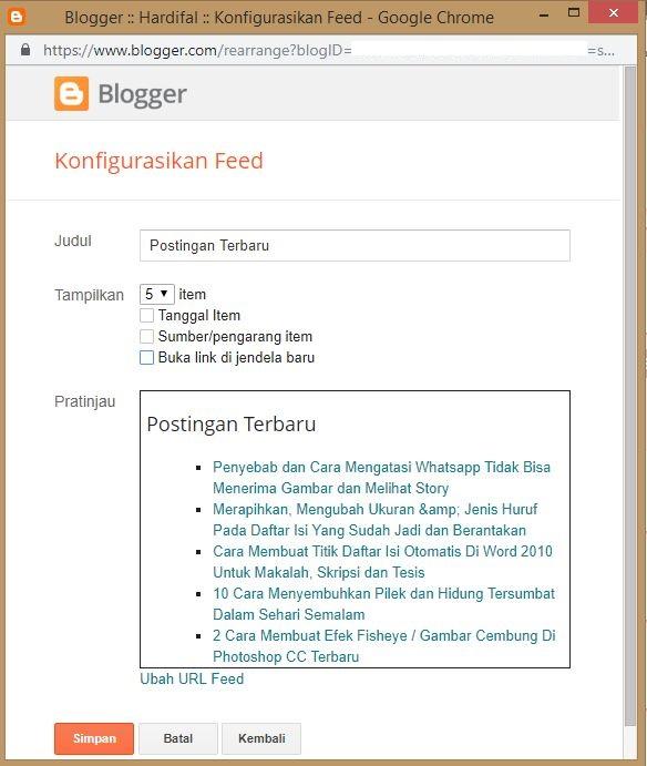 2 Cara Menampilkan Postingan Terbaru Di Sidebar Blog (Blogger) Keren Ringan