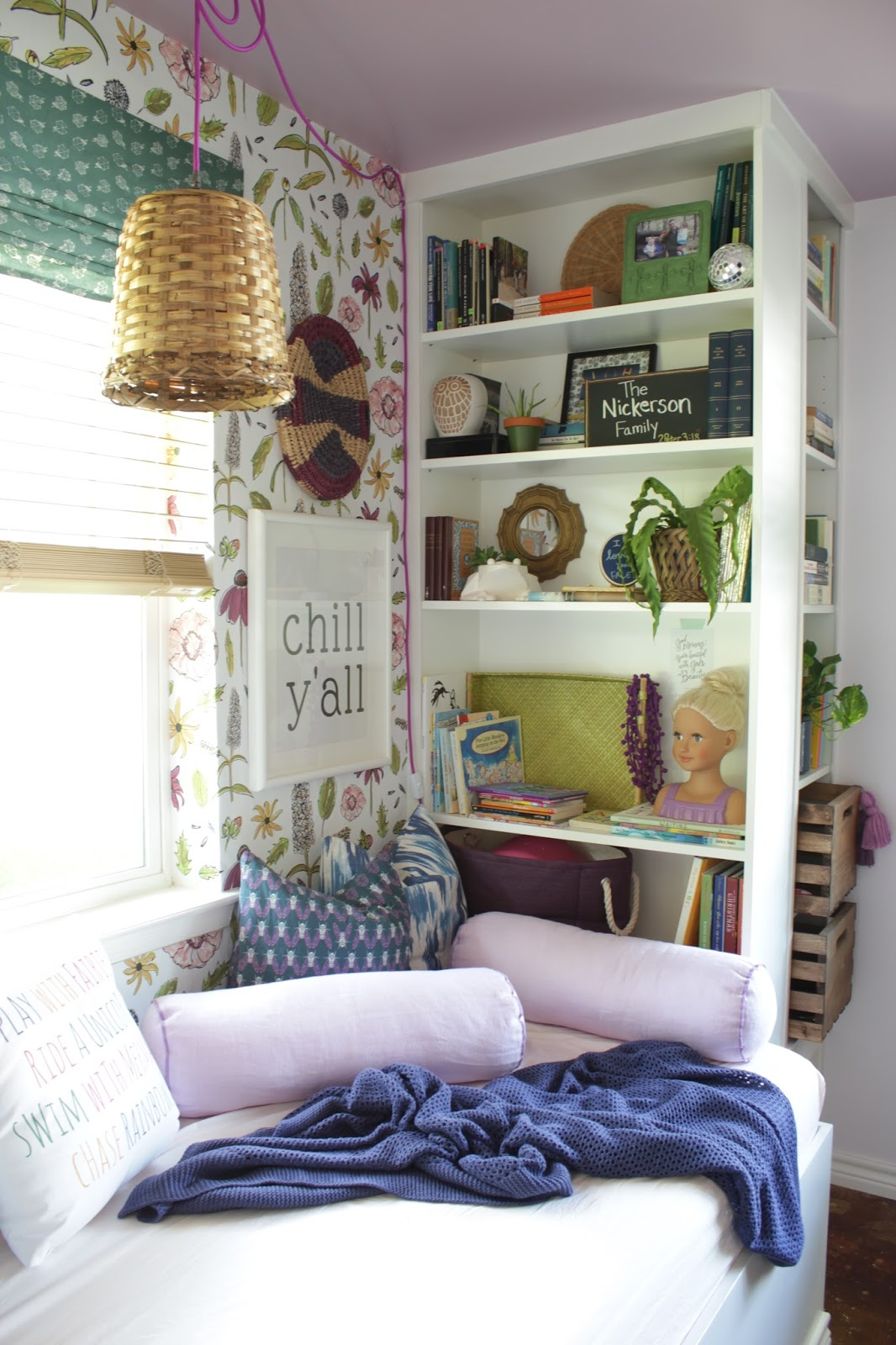 We transformed this space with built ins using Ikea bookshelves. This daybed space is so versitile and provides so much storage.