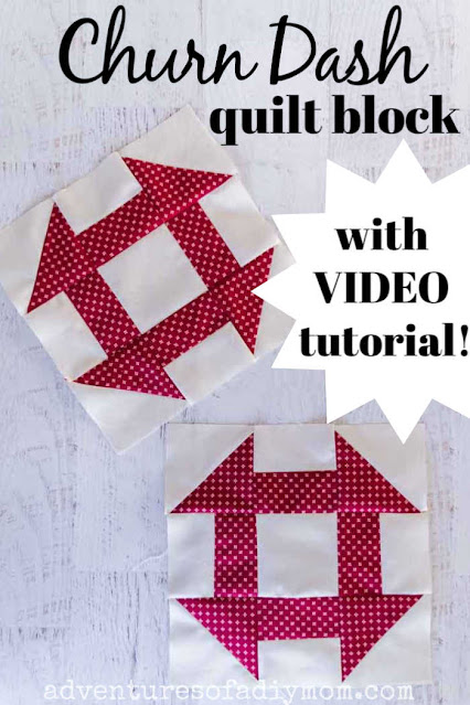 picture of two red and cream churn dash quilt blocks